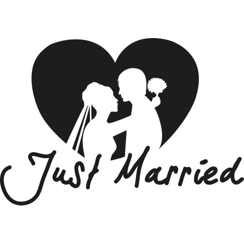 autosticker just married autosticker. Black Bedroom Furniture Sets. Home Design Ideas