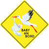 Autosticker Storch mit Baby -  Baby an Bord