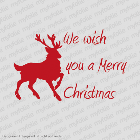 We wish you a Merry Christmas Schriftzug mit Rentier