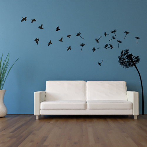 pusteblume mit v gel wandtattoo bilder motive wandtattoos klebefolienshop. Black Bedroom Furniture Sets. Home Design Ideas
