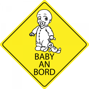 Autosticker Baby mit Stofftier -  Baby an Bord